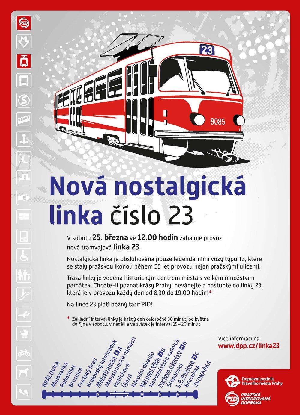 Leták k zahájení provozu nostalgické linky č. 23. (zdroj: DPP)