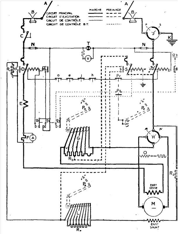 Schéma F2 (zdroj: Technica,č. 76, 1939 / archiv Československý Dopravák)   Hlavní přístroje jsou zaznačeny velkými písmeny. Jejich příslušné pomocné kontakty jsou pak zaznačeny stejnými písmeny, ovšem malými.