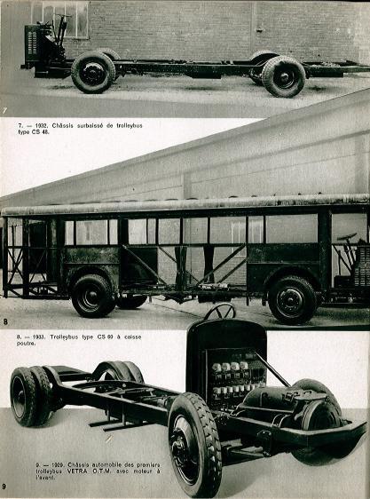 Srovnání sníženého podvozku typu CS 48 (nahoře),karoserie typu  caisse-poutre  (uprostřed) a podvozku prvních trolejbusů VETRA typu O.M.C. (dole). (zdroj: archiv ČsD)