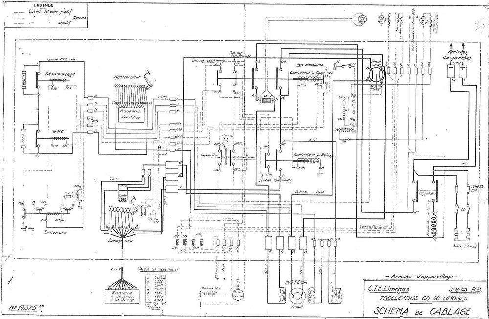 Schéma elektrické výzbroje trolejbusu CB 55 ev. č. 5 ze 3. srpna 1943. (foto:Martin Nimmo)