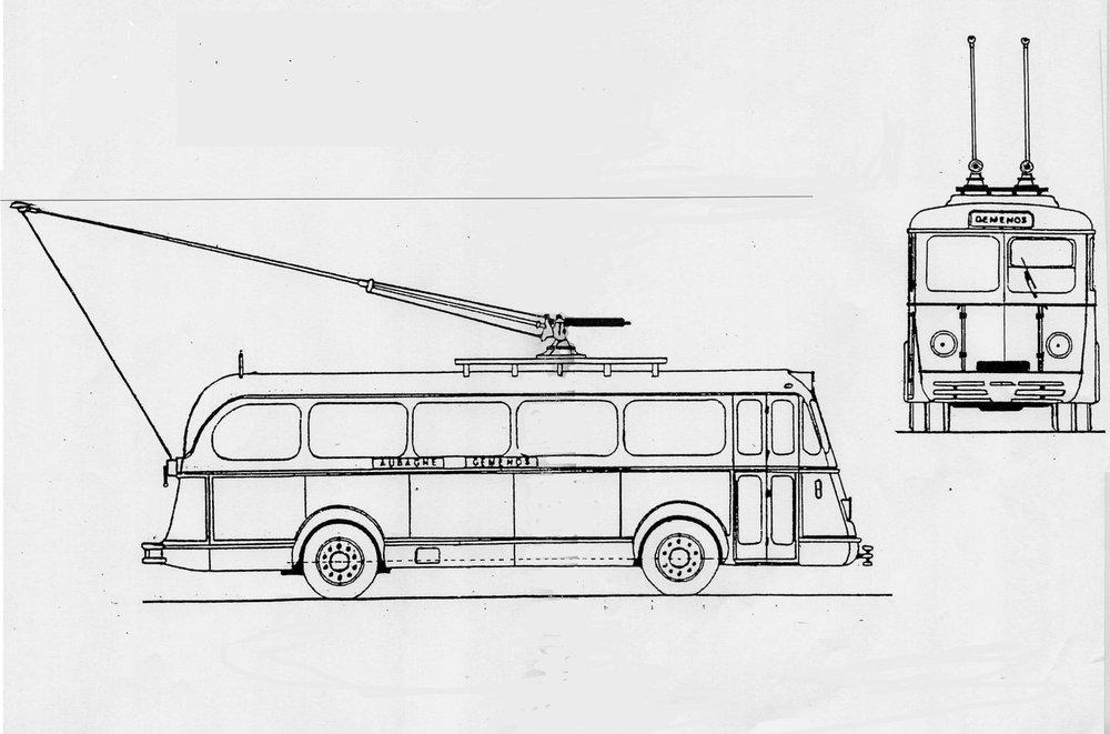 Nákres vozidla typu O.T.M. 2 překarosovaného v období příchodu druhésvětové války podnikem Établissements Barthélémy.(zdroj: sbírka Rolanda le Corffa)