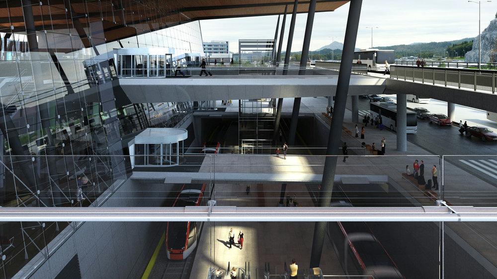 Podpovrchová stanice na letišti na vizualizaci. (zdroj: Bergen Bybanen)