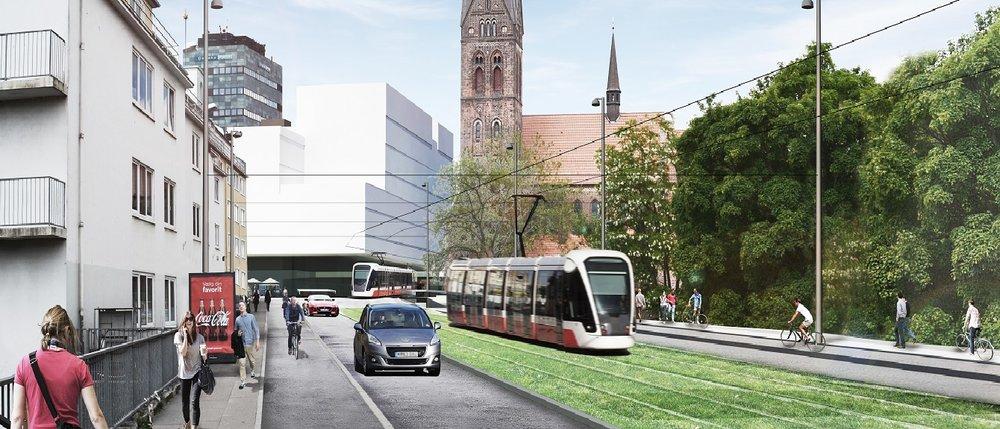 Vizualizace tramvají v dánském městěOdense. (zdroj: Odenseletbane.dk)