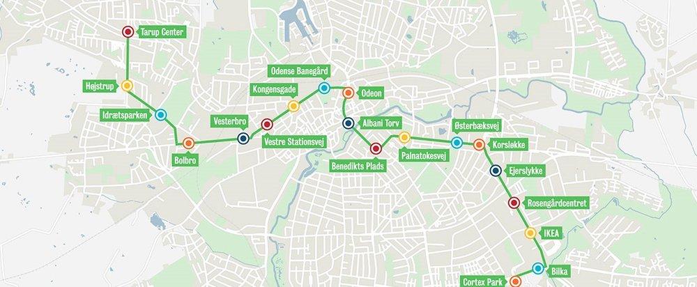 Budovaná první linka tramvaje v Odense. (zdroj: Odenseletbane.dk)