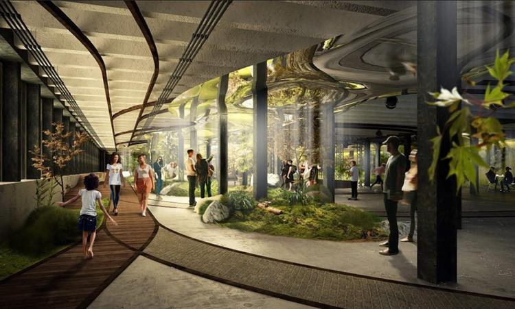 Jeden z návrhů vnitřního řešení parku. Počítá se v něm se zachováním řady prvků původního tramvajového terminálu. (foto: The Low Line)