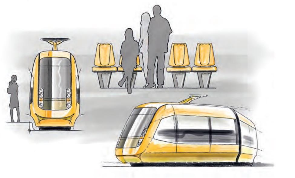 Tramvaje pro Drážďany mají umožňovat uspořádání sedadel 2+2. Počítá se s konstrukcí vozové skříně, která bude rozšířena až nad hranou nástupiště. (zdroj: DVB AG)