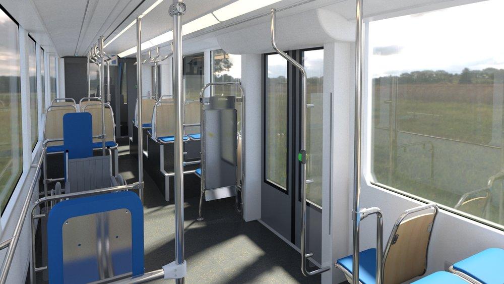 Pohled do interiéru směrem ke kabině řidiče. Z vizualizace je dobře patrné uspořádání sedadel v oblasti otočných podvozků. (zdroj: Stadler)