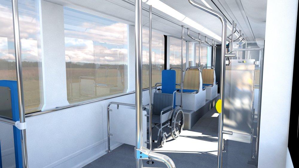 Další pohled do interiéru představuje možné řešení prostoru pro vozíčkáře a dětské kočárky. (zdroj: Stadler)