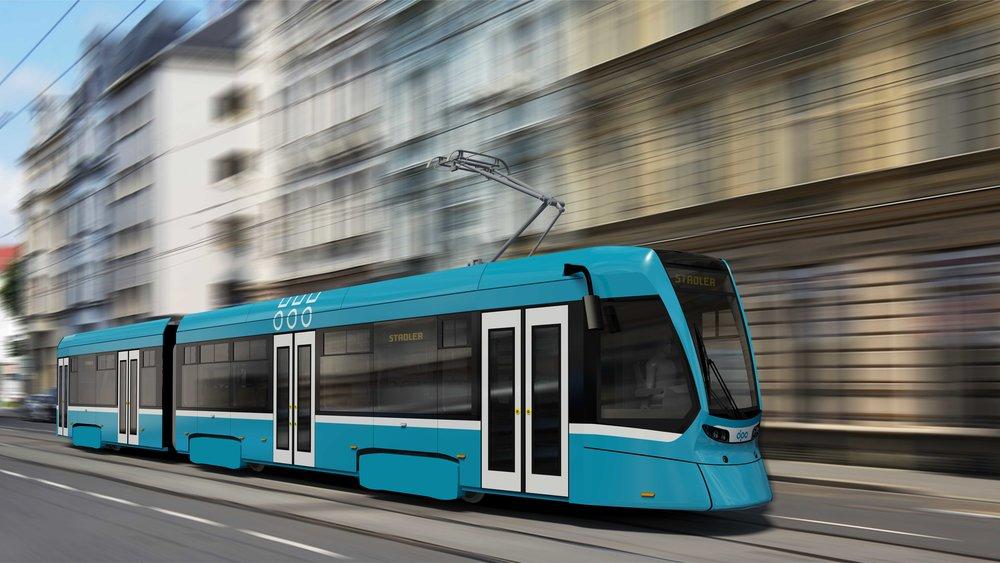 Finální řešení vzhledu ostravské tramvaje Tango NF2 Ostrava, pro kterou hodlá dopravce používat pojmenování nOVA. (zdroj: Stadler)