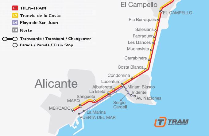 Tramvajová síť v Alicante v druhé polovině roku 2007. (zdroj: archiv FGV)