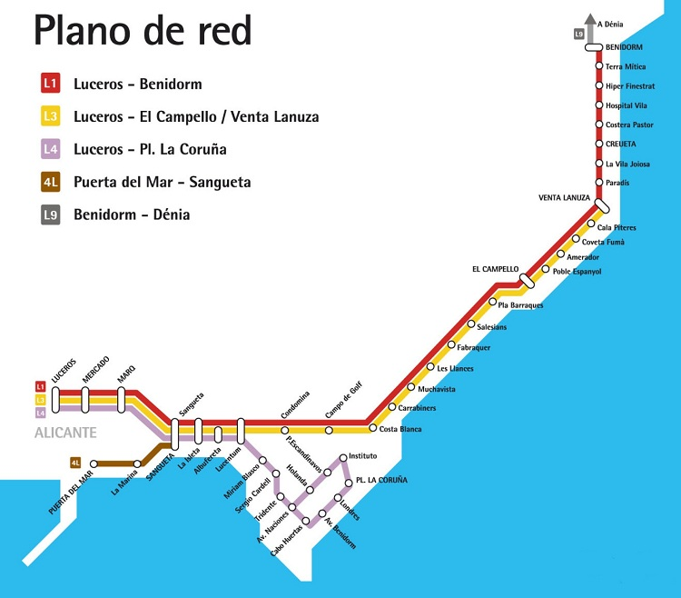 Tramvajová síť v Alicante druhé polovině roku 2010. (zdroj: archiv FGV)