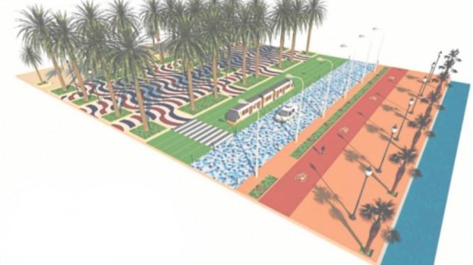 Vizualizace trati, která má být stavěna od konečné Puerta del Mar podél alicantské promenády a přes čtvrť San Gabriel směrem k alicantskému letišti. (zdroj: UGT FGV Valencia)