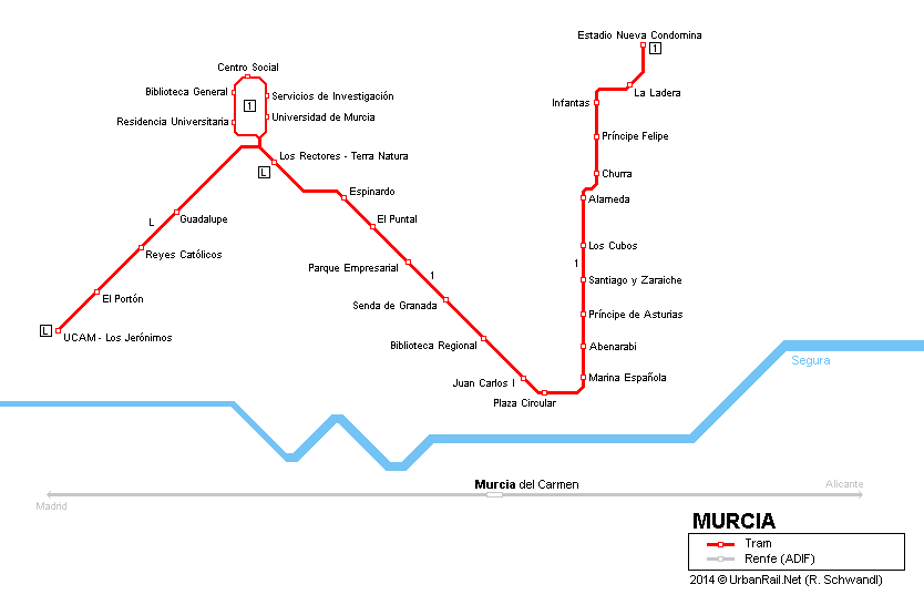 Plán murcijské tramvajové sítě. (zdroj: Robert Schwandl / UrbanRail.net)