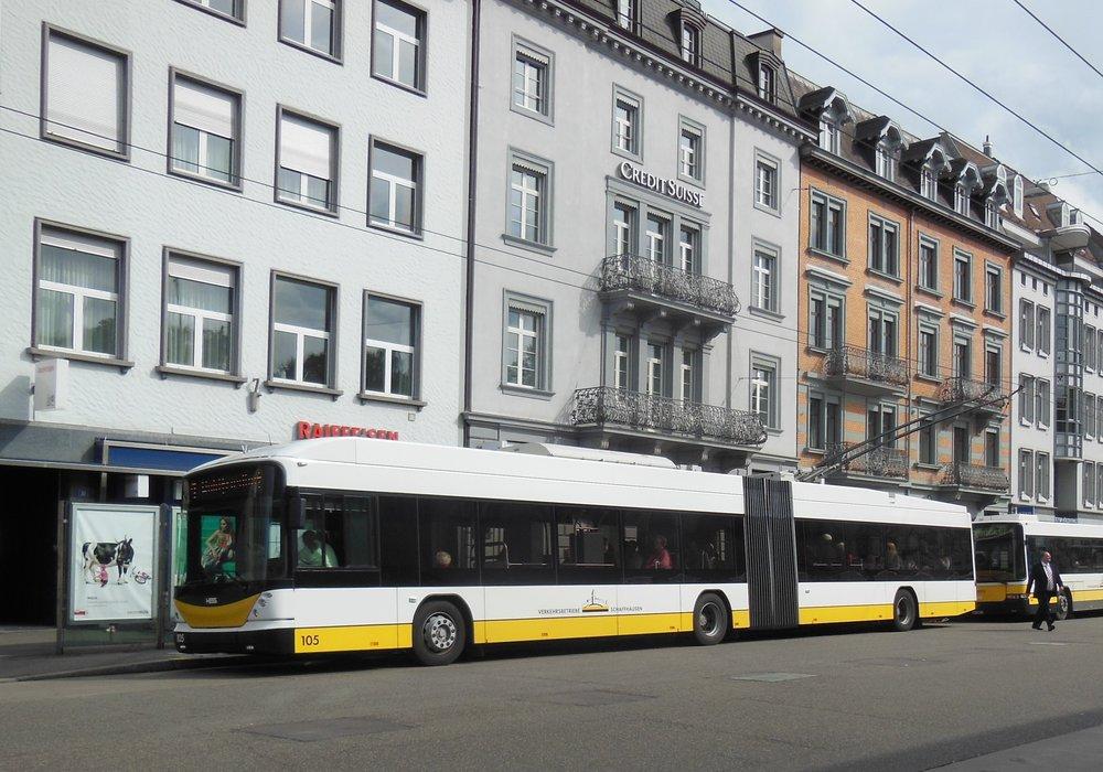 Trolejbus HESS ve švýcarském Schaffhausenu. (zdroj: Wikipedia.org)