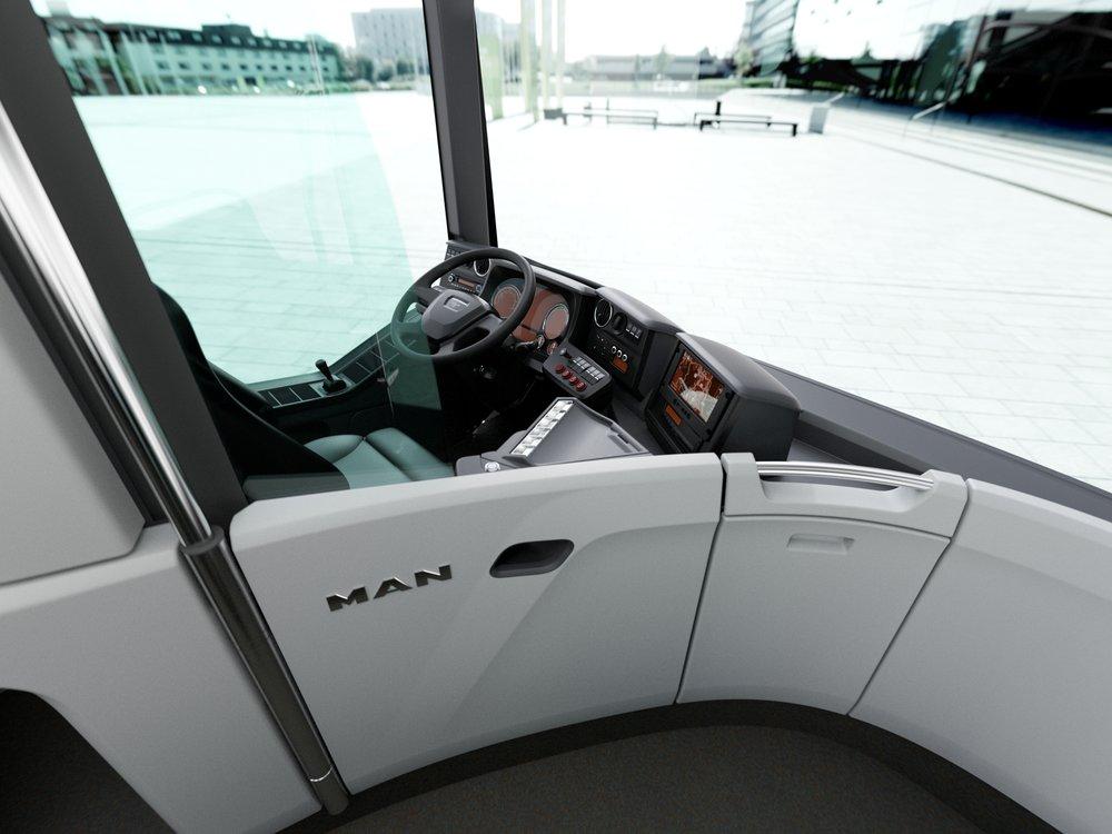 Pohled na stanoviště řidiče nového vozu MAN Lion's City. (foto: MAN Truck & Bus)