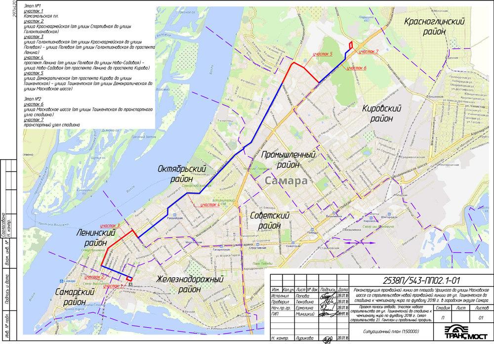Od náměstí Komsomolskaja ploščaďv centru města až k nové trati se stávající infrastruktura postupně rekonstruuje. Výkres zachycuje jednotlivé stavební úseky, včetně těch, které se týkají nové tramvajové trati.(autor: OAO Transmost)