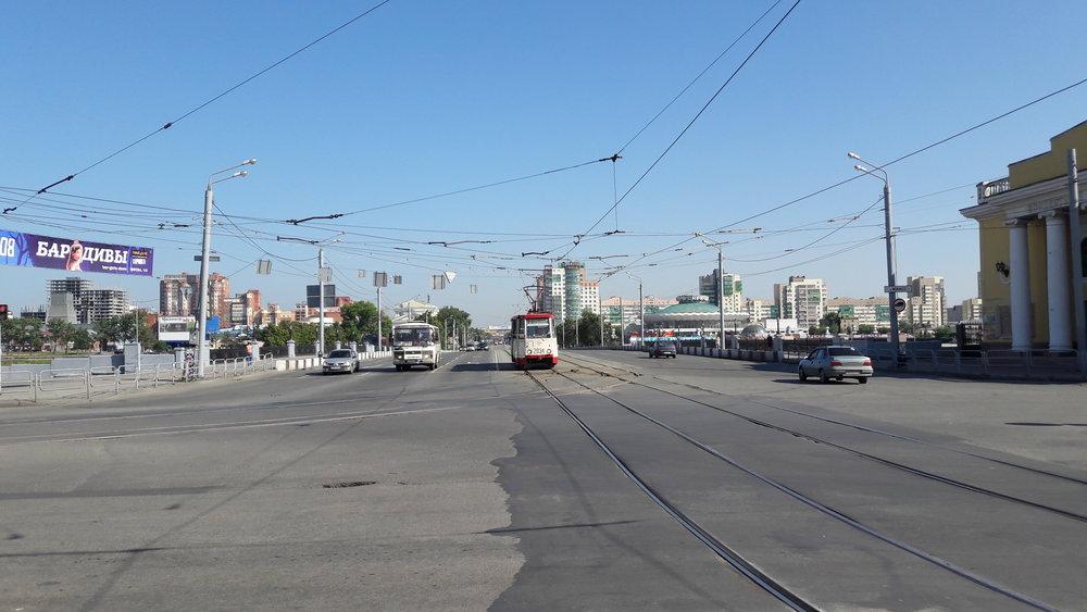 Tramvaj v centru města.