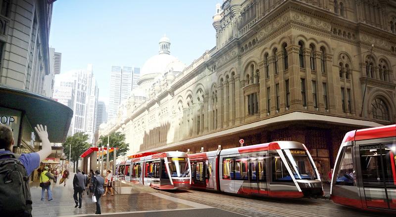 Tramvaje Alstom Citadis X05 v ulicích Sydney - prozatím jen na vizualizaci. (zdroj: Alstom)