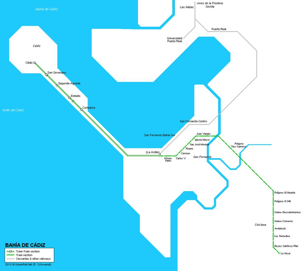 Plánek první linky cádizské vlakotramvaje. (zdroj: Robert Schwandl/UrbanRail.net)