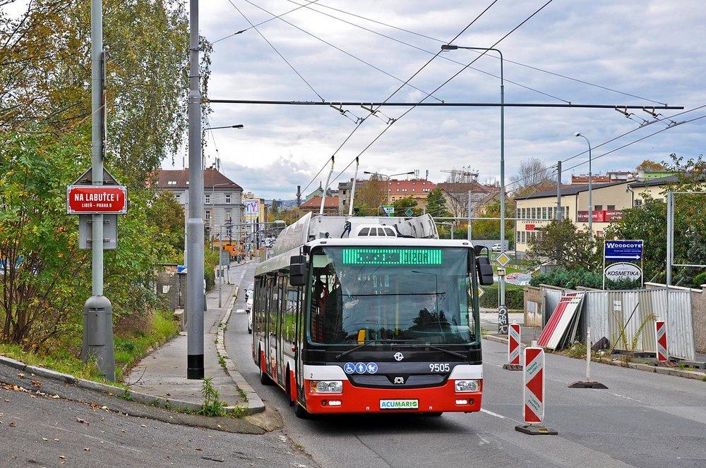 Již s pražským ev. č. 9505 během zkoušek 11. 10. 2017. (foto: Ing. Petr Malinovský)