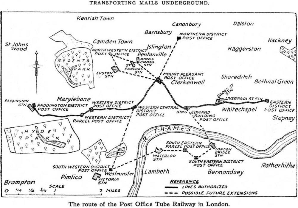 Plánek vedení úzkorozchodné dráhy pro přepravu pošty pod Londýnem. Čárkovaně jsou značeny možné rozvojové směry systému. (zdroj: Wikipedia.org)