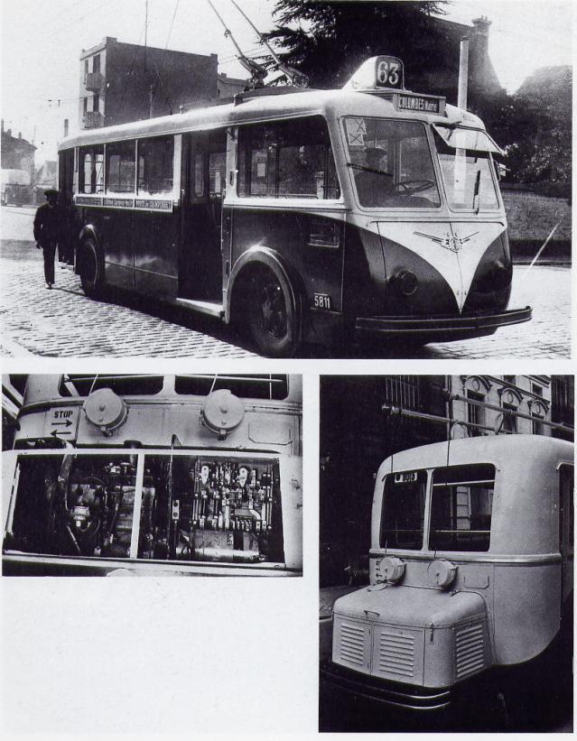 Pařížský trolejbus typu CS 60 a jeho pomocný pohonný agregát. Nad předním kolem u kabiny řidiče byla světelná signalizace, kteráse spouštěla ve chvíli, kdy se vozidlo přibližovalo ke chodníku. (foto: RATP / sbírka Henriho Domengieho a sbírka Pascala Béjuiho)