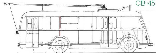 Nepůvodní výkres vozu typu CB 45 vypracovaný dle dostupných údajů a na bázi výkresu vozu typu CB 40. (autor: Jean Capolini)