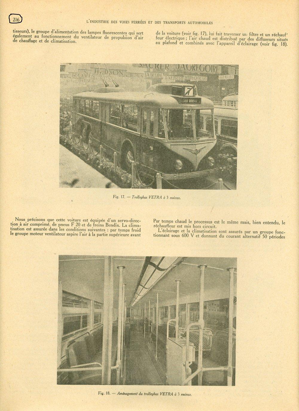 Časopis Union des Voies Ferrées et des Transports Automobiles  přinesl v jednom ze svých vydání z roku 1947 informaci o Pařížském autosalonu konaném onoho roku a na ní proběhlé prezentaci nového typu trolejbusu VA3, který se však dočkal sériové výroby až v 50. letech. (zdroj: sbírka Jeana Capoliniho)