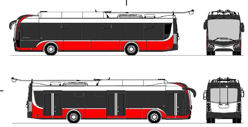 Barevné řešení trolejbusů pro Opavu by mělo odpovídat tomuto návrhu. (zdroj: Škoda Transportation)