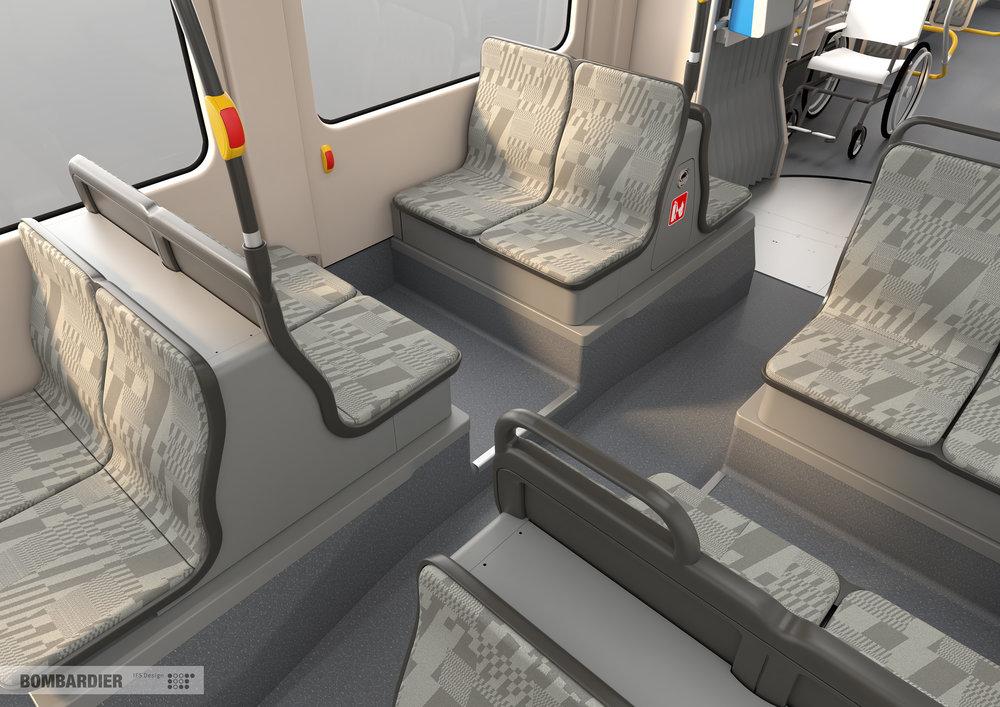 V tramvajích se budou nacházet jen malé podesty pod sedadly u podvozků. Jinak budou vozy 100% nízkopodlažní. (foto: Bombardier)