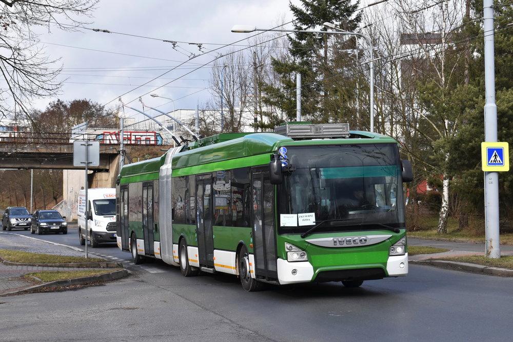 Nový trolejbus na zkouškách dne 2. 2. 2018. (foto: Zdeněk Kresa)