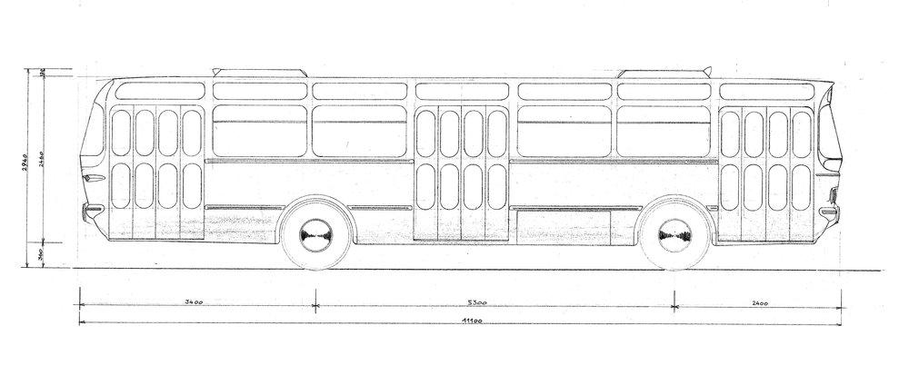 Výkres z roku 1959 pravděpodobně vyobrazuje první návrh křivek nového autobusu Karosa ŠM 11. (zdroj: archiv Iveco Czech Republic)