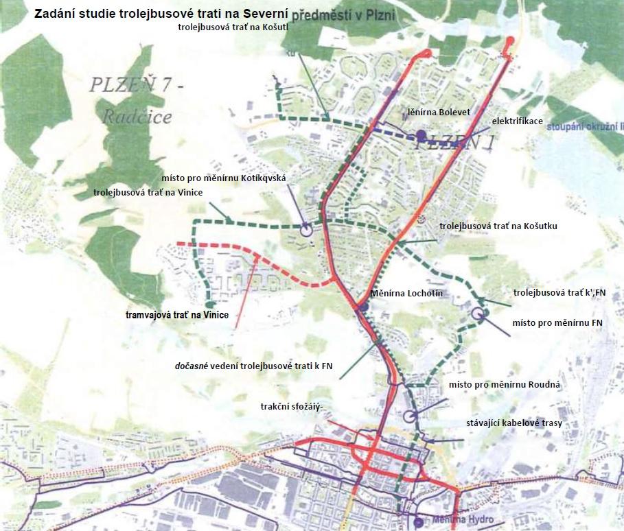 Návrh vedení trolejbusové tratě na Severní Předměstí včetně všech návazných investičních akcí(přeložky trolejbusové tratě na Sídliště Košutka, trolejbusové a tramvajové tratě na Vinice). (zdroj: Registr smluv, smlouva se společností Metroprojekt)