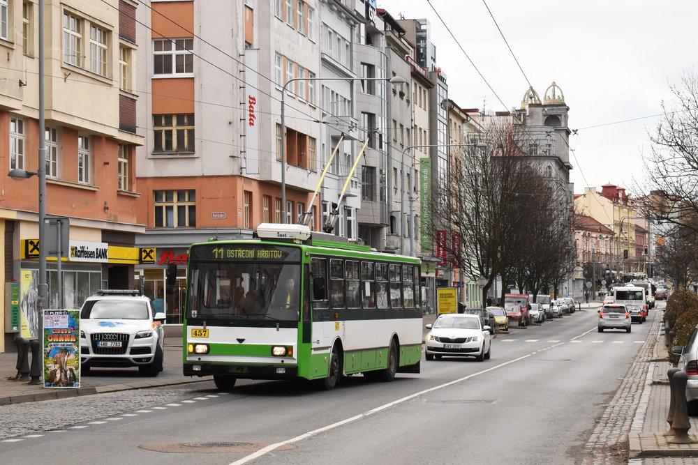 Trolejbus Škoda 14 Tr ev. č. 457 dojezdil dne 29. 3. 2018 na lince číslo 11. Fotografie pochází z posledního dne provozu.(foto: Zdeněk Kresa)
