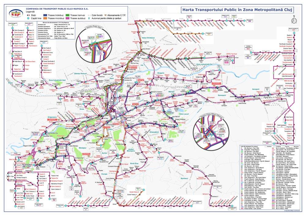 Mapa sítě MHD v Kluži. (zdroj:CTP Cluj-Napoca