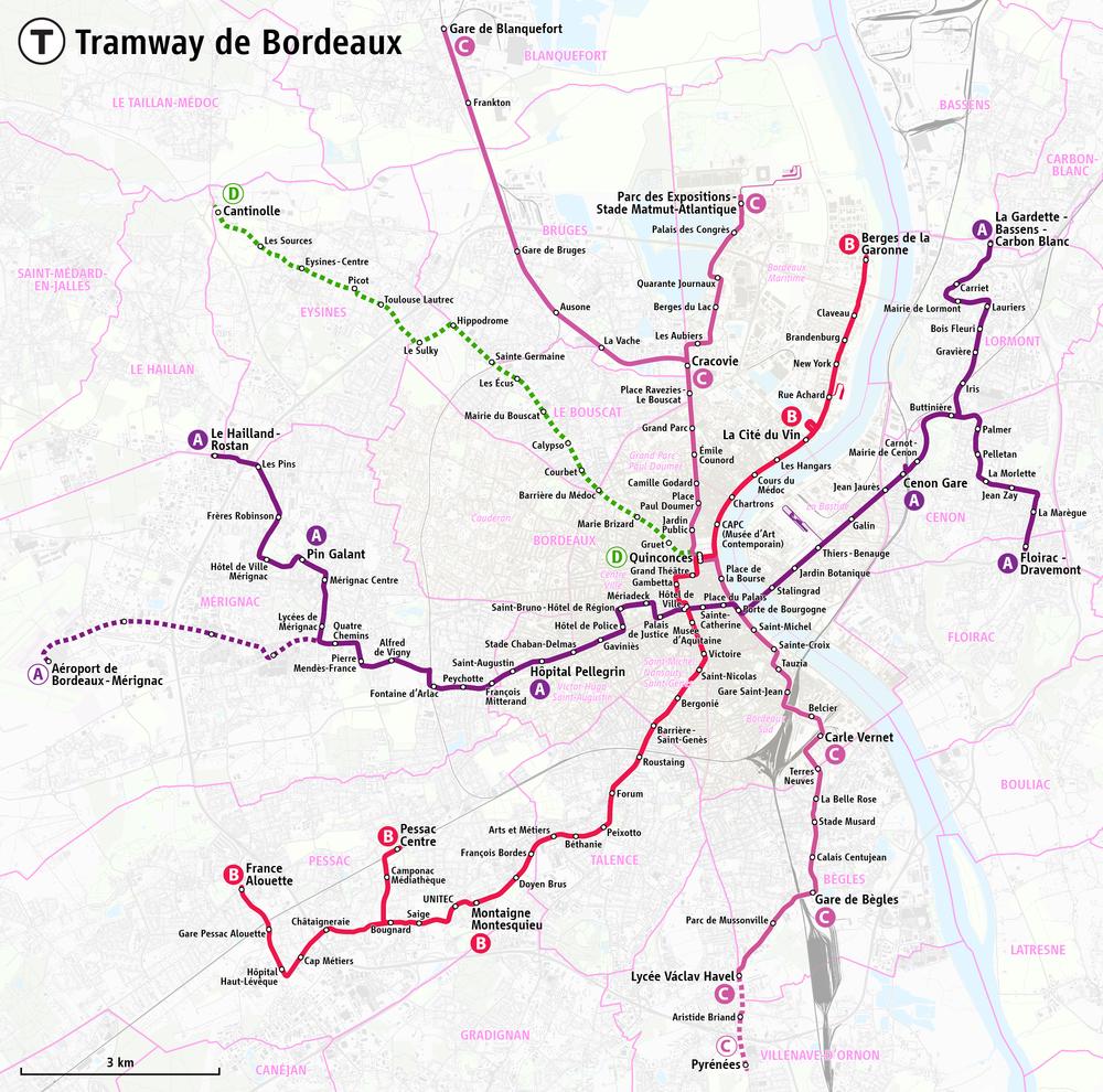 Mapa tramvajové sítě v Bordeaux včetně plánovaných prodloužení. (zdroj:Maximilian Dörrbecker / Wikipedia.org)