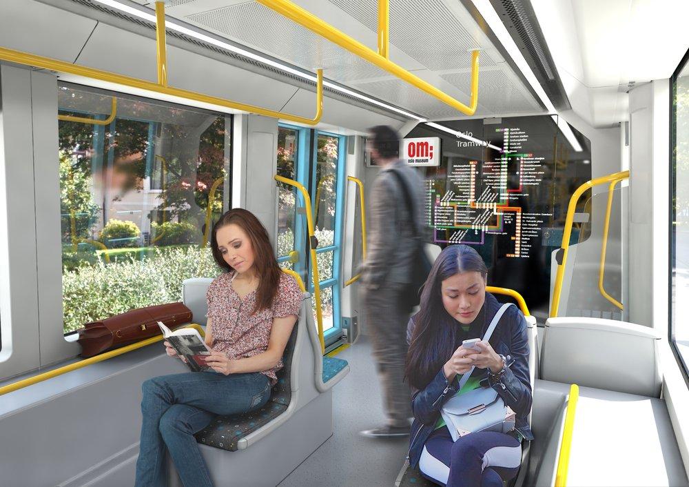 Pohled do části interiéru nové tramvaje pro Oslo na vizualizaci výrobce. (foto: CAF)
