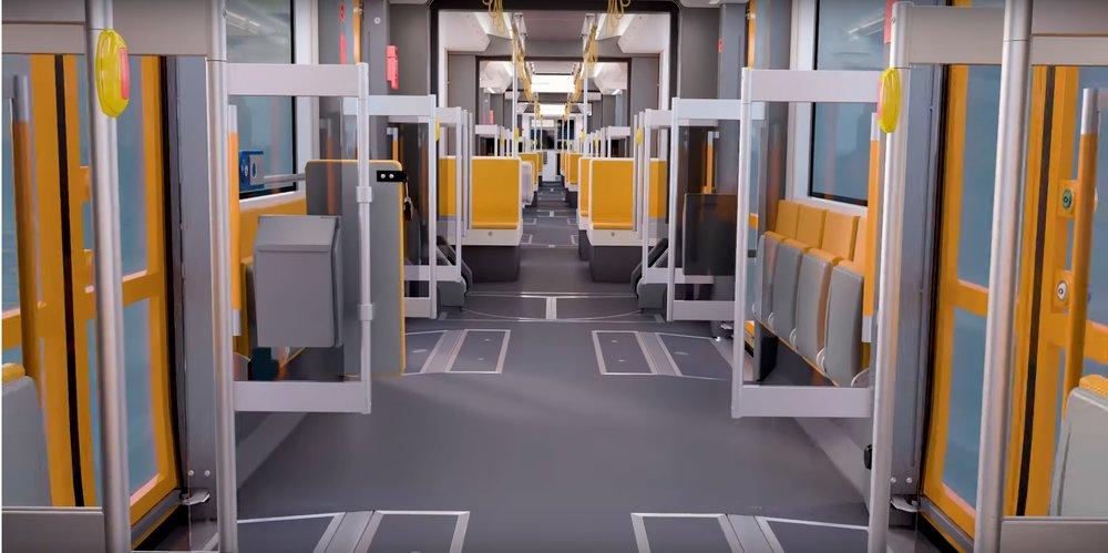 Pohled do interiéru (vlako)tramvaje pro Lugano (zdroj: Stadler)