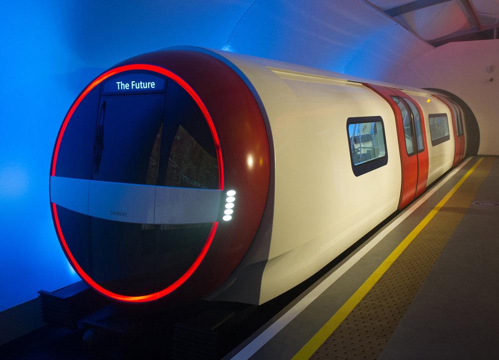 Netradiční návrh jednotky metra Inspiro v provedení pro Londýn z roku 2013. Skutečná podoba vozů nebude tak odvážná.(zdroj: Siemens)