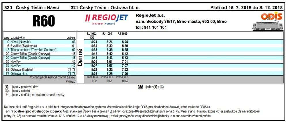 Tři spoje a jenom jedním směrem - linka R60 provozovaná RegioJetem v rámci ODIS.(zdroj: RegioJet)