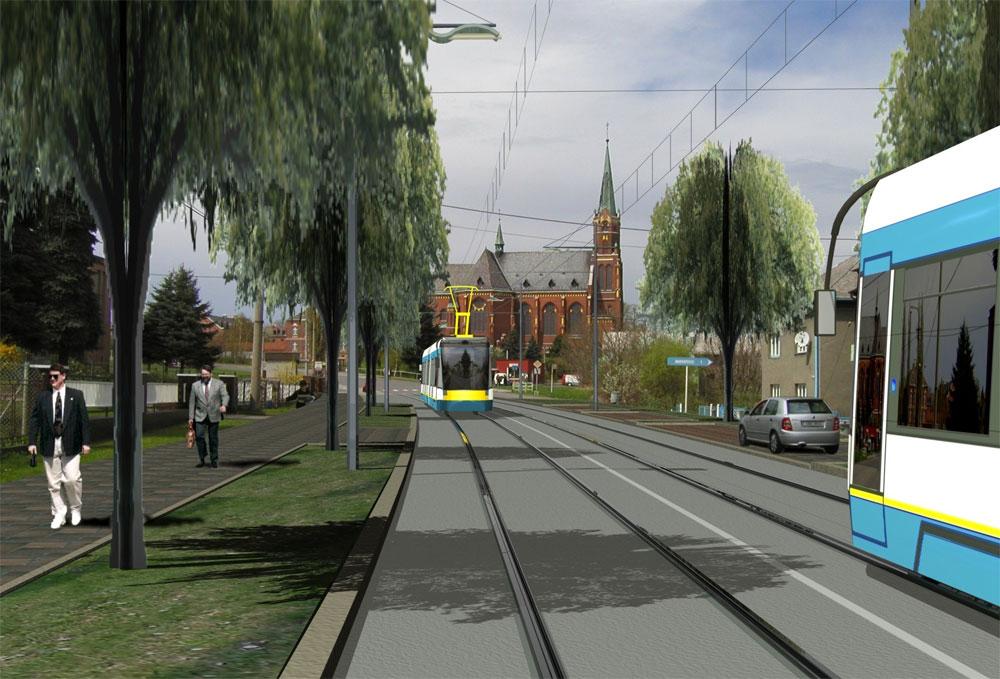 Takto byla prezentována v roce 2004 studie možného obnovení provozu tramvají do Hlučína s možností prodloužení až do Opavy formou vlakotramvají. V pozadí kostel v Ludgeřovicích. (zdroj: Obec Ludgeřovice)