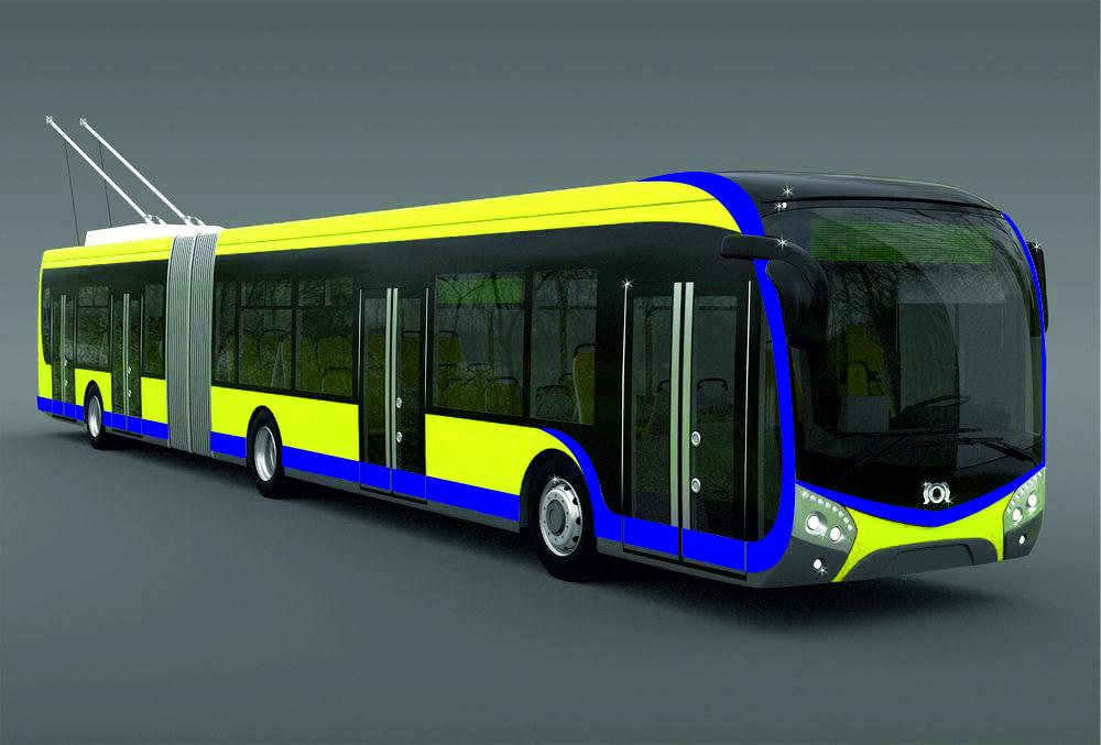 Do Teplic by měly zamířit trolejbus Škoda 33 Tr - článková verze modelu SOR NS 18 ve variantě trolejbusu. Obrázek představuje pouhou ilustrační fotomontáž. (zdroj: SOR Libchavy, fotomontáž ČS Dopravak)