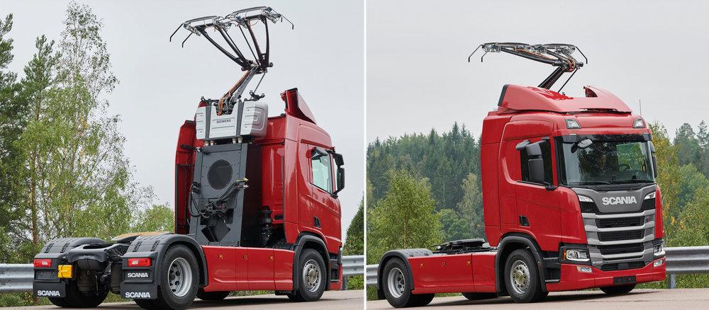 Upravený tahač Scania R 450 v trolejbusové verzi. (foto: Scania)