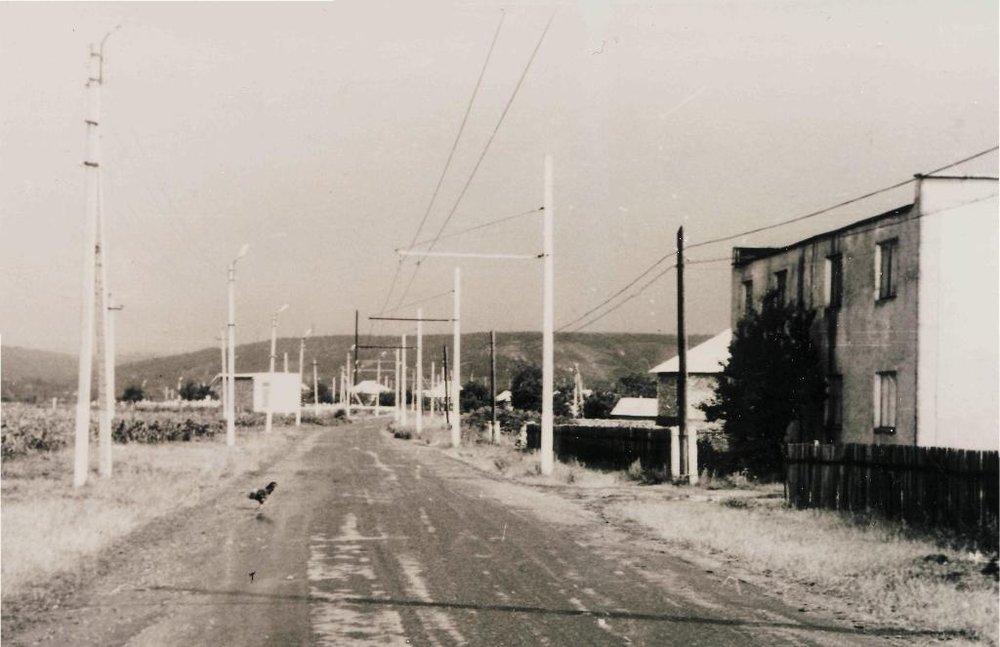 Obyčejná vesnice a v ní trolejbusová trať. Leckteré město by mohlo závidět. Pohled na jih. (zdroj: Nikolaj Andrejevič Zajac)