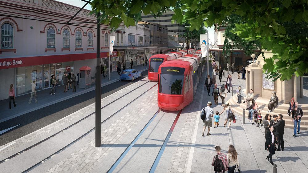 Tramvaje v centru města Parramatta na vizualizaci města. (zdroj:  http://www.parramattalightrail.nsw.gov.au/ )