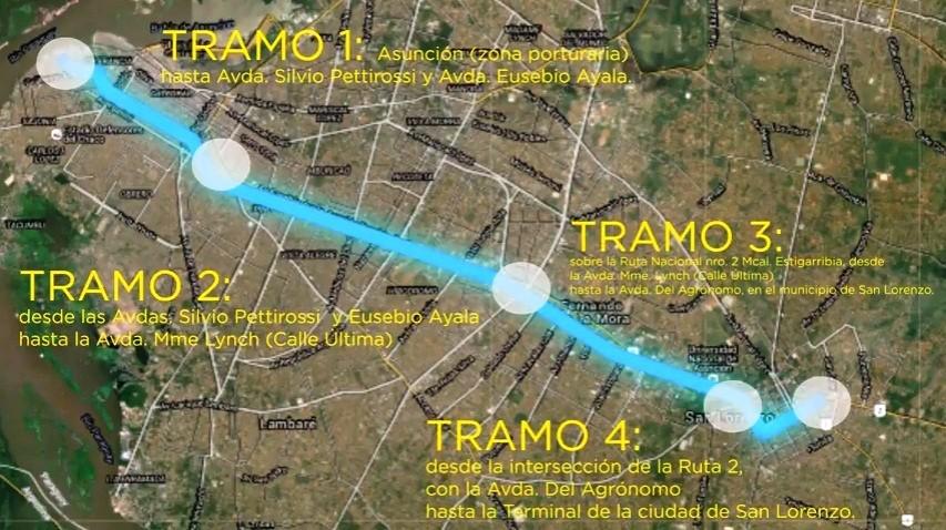 Podoba budoucího koridoru BRT na území měst Asunción, Fernando de la Mora a San Lorenzo. (zdroj: Ministerio de Obras Públicas y Comunicaciones)