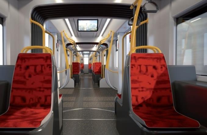 Pohled do interiéru nové tramvaje pro Varšavu. (foto: Hyundai Rotem)