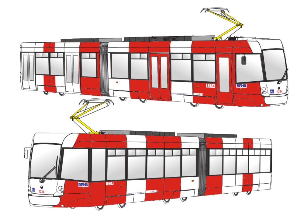 """Návrh číslo 3 pro barevné řešení tramvají EVO2 (""""Tramvaje pro Brno""""). (foto: DPMB)"""