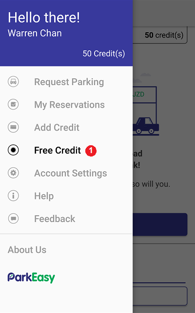 (1) Select free credit from the app menu
