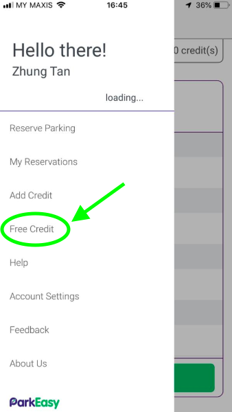 Tap on the Menu button > free credit